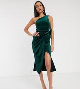 Asos Tall DESIGN Tall velvet one shoulder tuck detail midi dress