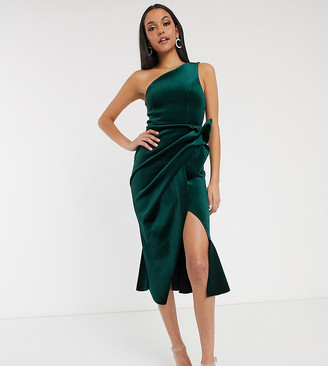Asos Tall ASOS DESIGN Tall velvet one shoulder tuck detail midi dress
