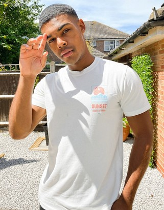 Selected boxy fit t-shirt with chest logo in white