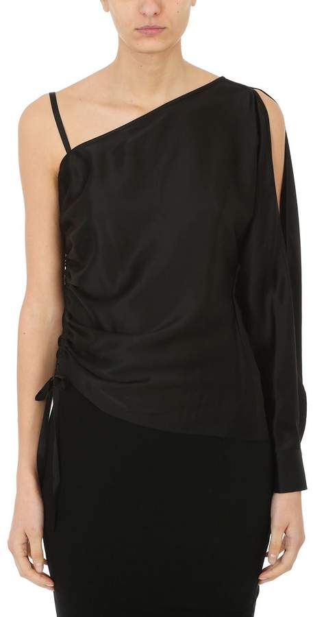 Alexander Wang Asymmetric Drape One Sleeve Blouse