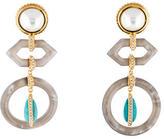 Rachel Zoe Crystal Pearl and Turquoise Chandelier Earrings