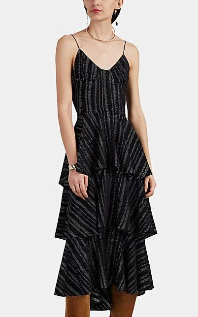 Altuzarra Women's Ball Metallic-Striped Stretch-Silk Georgette Dress - Black