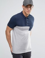 Asos Half & Half Muscle Polo With Pocket In Navy and Gray Marl