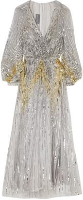 Monique Lhuillier Sequined Tulle Gown