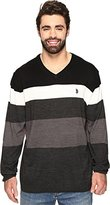 U.S. Polo Assn. Men's Big-Tall Striped V-Neck Sweater