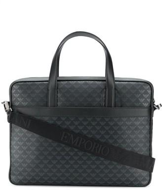 Emporio Armani Monogram Print Leather Briefcase