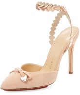 Charlotte Olympia Amour Suede Ankle-Wrap Pump
