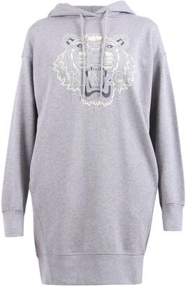Kenzo Tiger Flock Hooded Sweatshirt Dress