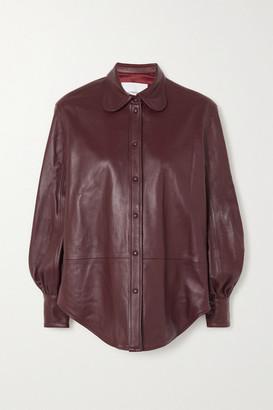 pushBUTTON Paneled Leather Shirt - Burgundy