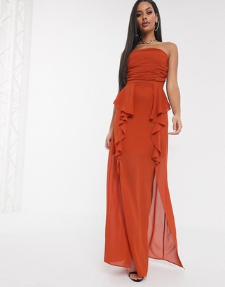 TFNC bandeau maxi dress with frill detail