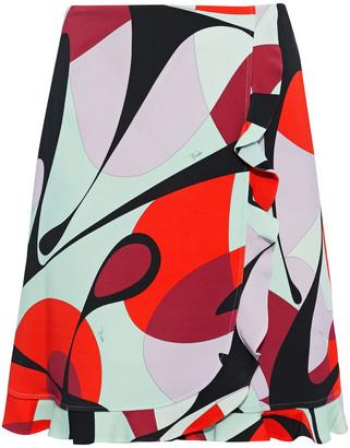 Emilio Pucci Wrap-effect Ruffle-trimmed Printed Stretch-crepe Mini Skirt
