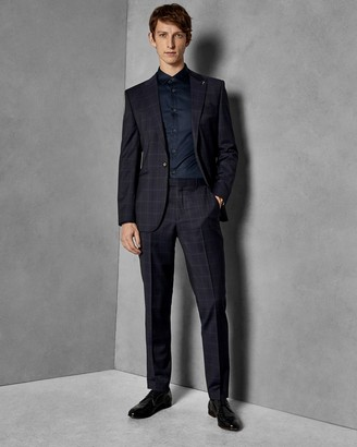 Ted Baker Check Slim Fit Wool Trousers