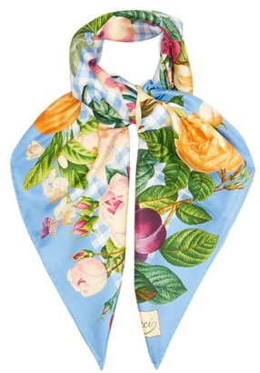 Gucci Floral-print Gingham Silk-twill Scarf - Blue Multi