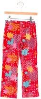 Catimini Girls' Floral Velvet Pants