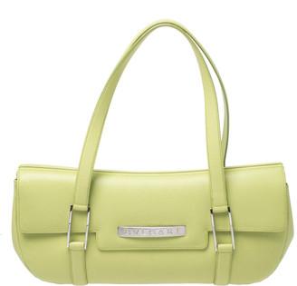 Bvlgari Neon Green Leather Flap Satchel