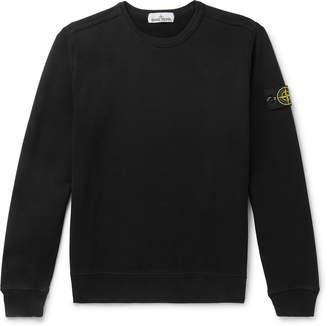Stone Island Logo-Appliqued Garment-Dyed Fleece-Back Cotton-Jersey Sweatshirt