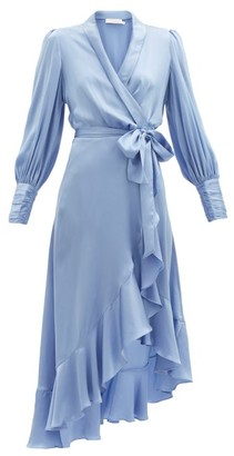 Zimmermann Bishop-sleeve Silk Wrap Midi Dress - Light Blue