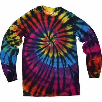 Liquid Blue Unisex Adult Rainbow Spiral Streak Tie Dye Long Sleeve T-Shirt T Shirt