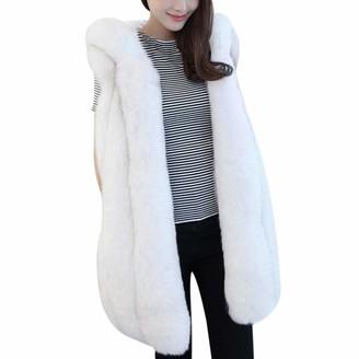Anywow Womens Warm Winter Gilet Faux Fur Vest Sleeveless Shrug Waistcoat Wrap Hoodies Jacket Ladies Mid-Length Hooded Coat Outwear White