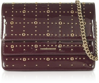 Roccobarocco Gazpacho Burgundy Eco-Patent Leather Flap Shoulder Bag