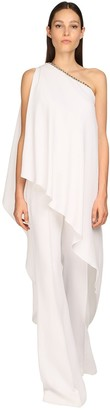 Elie Saab Cady One Shoulder Jumpsuit W/ Cape