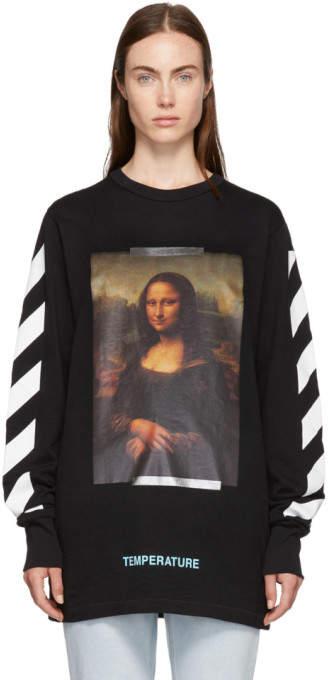 Off-White Black and White Diagonal Monalisa T-Shirt