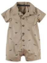 Carter's Button-Front Dinosaur Romper in Brown