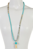 Cara Accessories Beaded Turquoise Leaf Pendant Necklace