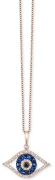 Effy Bella Bleu by Diamond Evil-Eye Pendant Necklace (1/3 ct. t.w.) in 14k Rose Gold