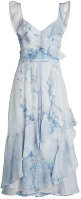 Marchesa Chiffon and Lace Tea-Length Dress