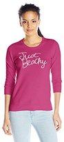Caribbean Joe Women's Intarsia Cotton Phrase Just Beachy Sweater