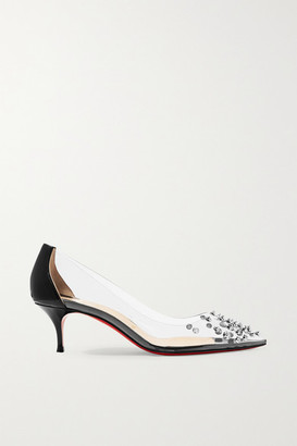 Christian Louboutin Collaclou 55 Spiked Pvc And Patent-leather Pumps - Black