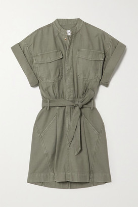 Frame Belted Washed-cotton Mini Shirt Dress - Army green