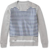 Burberry Runway Cotton-blend Jersey And Striped Silk-blend Sweatshirt - Gray