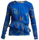Preen by Thornton Bregazzi Toyin Floral-print Ruched-crepe Jersey Top - Womens - Blue Multi