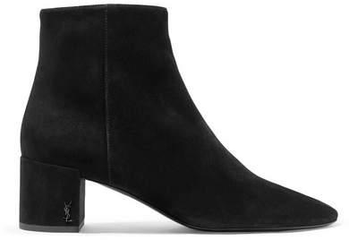 Saint Laurent Lou Suede Ankle Boots - Black