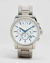 Armani Exchange Chronograph Stainless Steel Watch In Silver Ax2510
