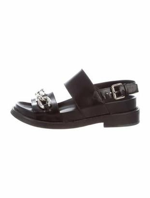 Louis Vuitton Leather Chain-Link Accents Slingback Sandals Black