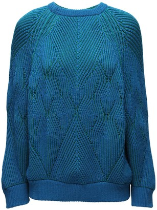 Alberta Ferretti Reversible Cable Knit Wool Sweater