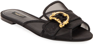 Dolce & Gabbana Flat Slide Sandals with Buckles
