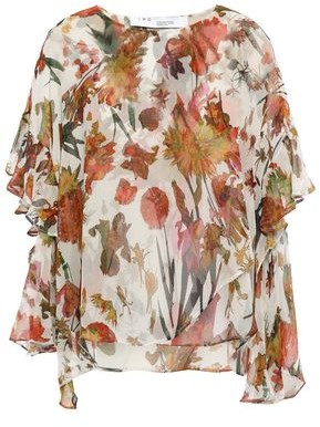 IRO Yellow Asymmetric Ruffled Floral-print Silk-georgette Blouse