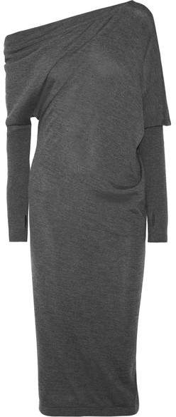 Tom Ford One-shoulder Cashmere And Silk-blend Midi Dress - Charcoal