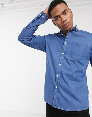 Asos DESIGN stretch slim organic denim shirt in mid wash