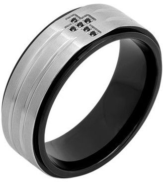 Black Diamond Brilliance Fine Jewelry Men's Stainless Steel 8MM Accent Cross Wedding Band - Mens Ring