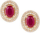 Macy's Certified Ruby (1-1/3 ct. t.w.) and Diamond (1/4 ct. t.w.) Oval Stud Earrings in 14k Gold