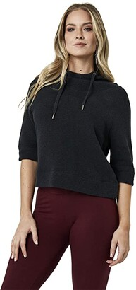 Pact Organic Cotton Cropped Funnel Neck Pullover (Charcoal Heather) Women's Clothing