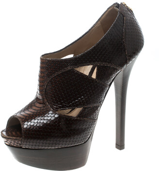 Fendi Brown Python Embossed Leather Platform Ankle Boots Size 38