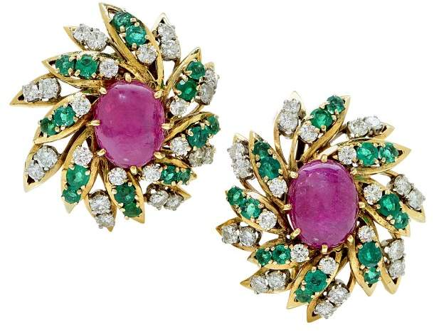 David Webb 18K Yellow Gold Ruby, Diamond & Emerald Earrings