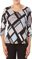 Allison Daley Petites 3/4 Sleeve Abstract Geo Print Knit Top