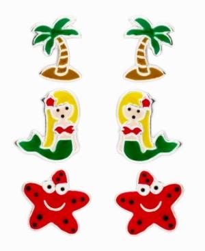 Rhona Sutton 4 Kids Children's Starfish, Mermaid, Palm Tree Stud Earrings - Set of 3 in Sterling Silver